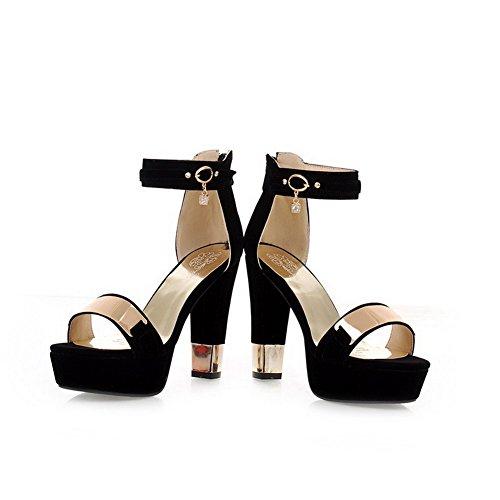VogueZone009 Women's Frosted Solid Zipper Open Toe High-Heels Sandals Black OFdtFRnLFA