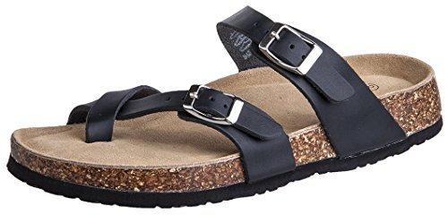 Festooning Womens Slides Flat Sandals Open Toe Double Buckle Strap Cork Sole Comfort Summer Shoes (10 B(M) US, Black) by Festooning (Image #7)