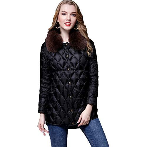 Black Chaude en Mode Collier Les d'hiver Duvet Fit Costume WUYEA L Femmes Manteau Slim Fourrure Vestes De xUZYPB8qw