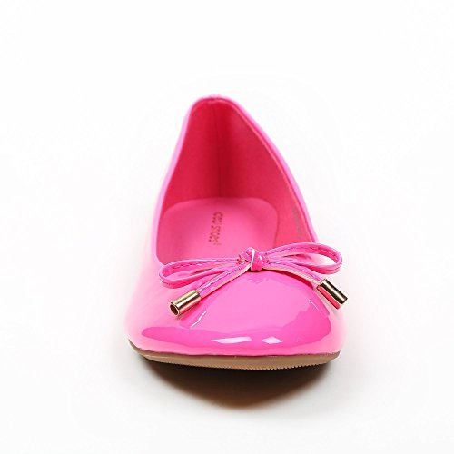 Ideal Shoes–Ballerinas, Lackschuhe, in Farbe, Tahani Fuchsia