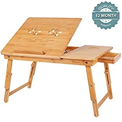 Bamboo Laptop Desk Tray,breakfast Serving Bed Trays, Adjustable Foldable With Flip Top And Legs, Computer Stand With Drawer By Ql Ben