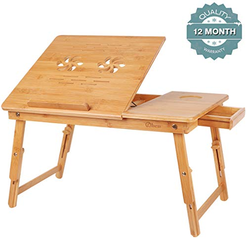 (Bamboo Laptop Desk Tray,Breakfast Serving Bed Trays, Adjustable Foldable with Flip Top and Legs, Computer Stand with Drawer-by QL-ben )