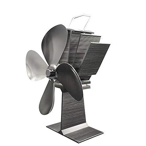 Soplador de aire 4 aspas Mini motor Calentador de leña Estufa de leña Quemador de leña Leña para chimenea Ventilador de aire duradero - Negro: Amazon.es: ...
