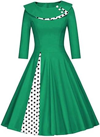 Axoe Womens 1950S Vintage Dress Rockabilly A-Line 3//4 Sleeve