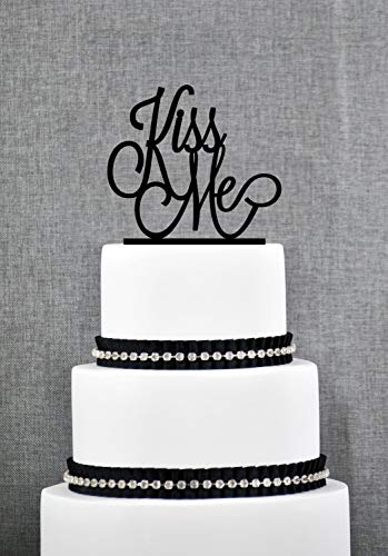 Kiss Me Cake Topper Custom Romantic Wedding Cake Decoration in your Choice of Color Modern and Elegant Wedding Cake Topper s