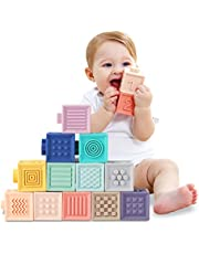 TUMAMA Baby Blocks Soft Building Blocks Baby Toys Teethers Toy Educational Squeeze Play with Numbers Animals Shapes Textures 6 Months and Up 12PCS