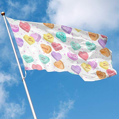 Garden Flag Hearts Pattern Outdoor Yard Home Flag Wall Lawn Banner Polyester Flag Decoration 3' X 5' ()
