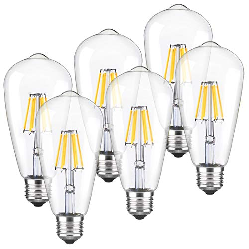 LED Edison Bulb Dimmable Vintage Light Bulbs 2700k Warm White 60W Equivalent E26 Edison Bulb 6-Pack by LUXON