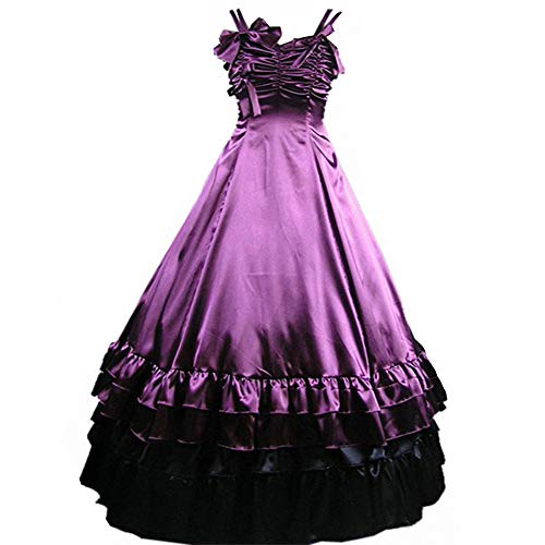 I-Youth Womens Gothic Victorian Dresses Ruffles Sleeveless Long Prom Ball Gown Cosplay Halloween Masquerade Costumes Purple