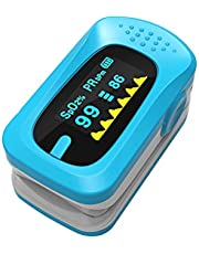 ROSENICE Fingertip Pulse Oximeter with Alarm OLED Display Blood Oxygen Meter with Lanyard in Blue