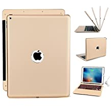 Keyboard Case, retroiluminado teclado bluetooth inalámbrico Slim – Carcasa para Apple iPad Pro 12.9 de aluminio con Powerbank 5200 mAh, Dorado