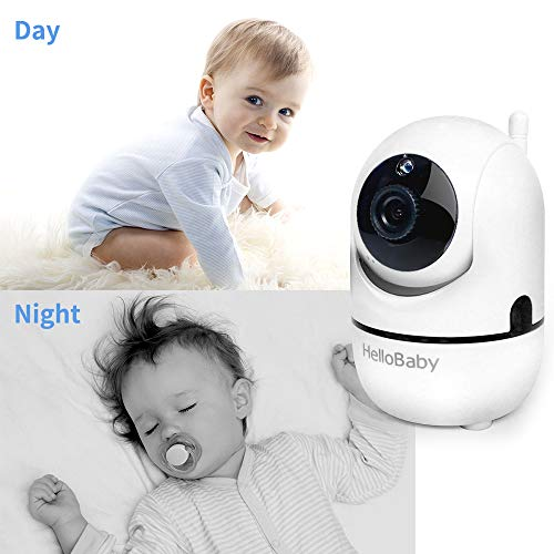 HelloBaby Video Baby Monitor with Remote Camera Pan-Tilt-Zoom, 3.2'' Color LCD Screen, Infrared Night Vision, Temperature Display, Lullaby, Two Way Audio, with Wall Mount Kit