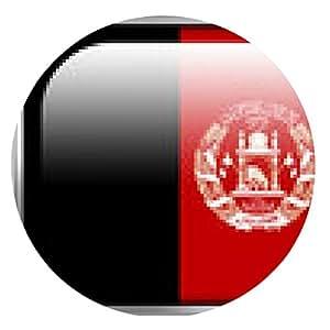 alfombrilla de ratón Botón brillante del rectángulo de la bandera de Afganistán - ronda - 20cm