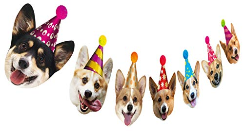 Silvima Dogs Birthday Garland, Funny Corgi Face Portrait Birthday Banner, Dog Bday Bunting Decoration]()