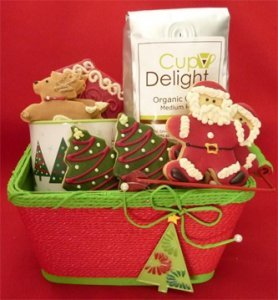 holiday gift basket with christmas cookies coffee and mug 12 cookies
