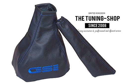 GEAR & HANDBRAKE GAITER BLACK LEATHER BLUE GSI EMBROIDERY The Tuning-Shop Ltd