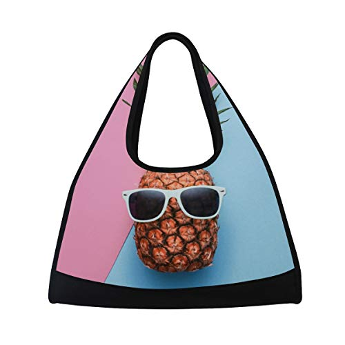 Gym Bag Summer Tropical Pineapple Women Yoga Canvas Duffel Bag Sports Tote Bags for Girls