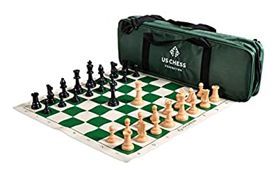 The US Chess Federation - Supreme Triple Weighted Black and Natural Pieces Chess Set Combo - Green