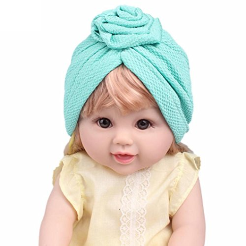 DIGOOD Suit For 3-8 Years Old Kids, Teen Girls Boho Hat Beanie Scarf Turban Head Wrap Cap (Green) by DIGOOD (Image #2)