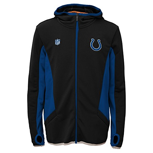 Indianapolis Colts Youth Full Zip (NFL Indianapolis Colts Strike Full Zip Hoodie, Medium, Black)