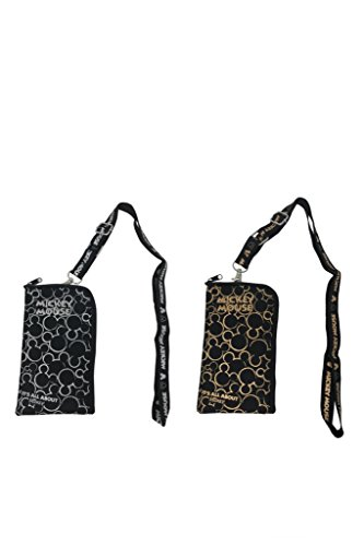 Disney Mickey Mouse Coin Pouch Keychain Lanyard 2 Pcs, Black & Gold, Black & Silver