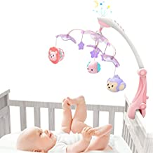 GrowthPic Musical Baby Crib Mobile with Star Projector Nursery Function, Foldable Arm, Hanging Rotating Infant Playing Teether and Loudspeaker with 30 Melodies,Pink