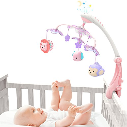 Crib Cap - GrowthPic Musical Baby Crib Mobile with Star Projector Nursery Function, Foldable Arm, Hanging Rotating Infant Playing Teether and Loudspeaker with 30 Melodies,Pink