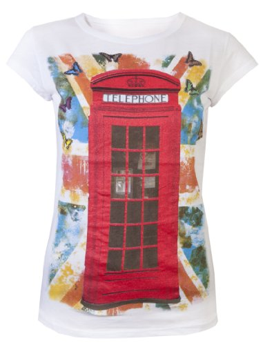 Damen Tops Damen T-Shirts Rot Glitzer Phone Box London Souvenir Union Jack Flagge Schmetterling Souvenir Tops Gr. Medium, Weiß - Weiß