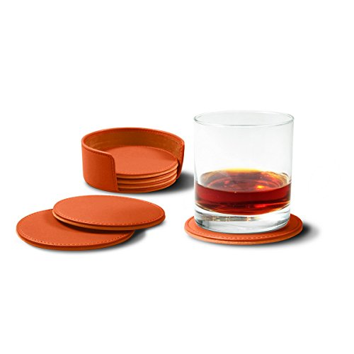 Lucrin - Set of 6 Round Real Leather Coasters with Coaster Holder - Orange - Smooth Leather by Lucrin