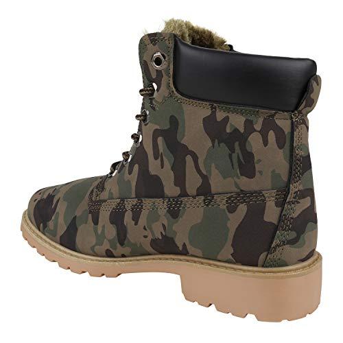 Warm Übergrößen Boots Camouflage Flandell Gefüttert Worker Stiefelparadies Unisex Herren Avelar Damen Stiefeletten wq440Y7