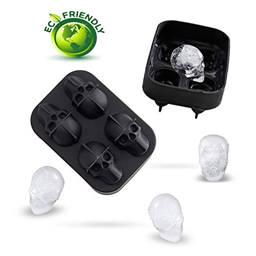 Silicone Skull Ice Cube 3D Skull Ice Mold - Skull Ice Cube Mold Tray, Best for Whiskey and Cocktails, For Halloween and Christmas Party