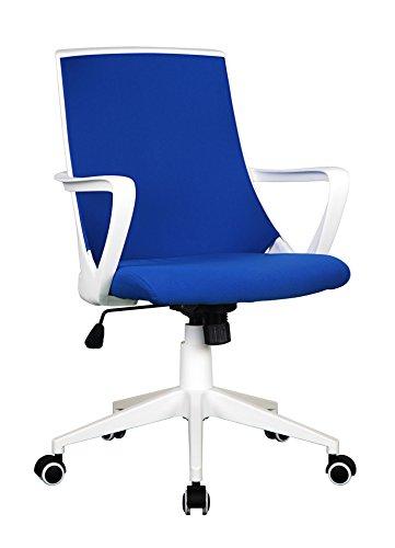 SixBros. Bürostuhl Drehstuhl Schreibtischstuh Blau/Weiß - 0722M/2241
