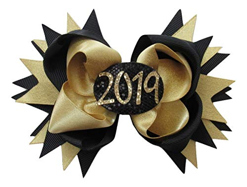 NEW2019 GRADUATION - Gold Girls Ribbon Hairbow Clip Bow Sculpture Graduation Clippie (2 Bow Set) Boutique Seniors College Party New Years Eve Day Glitter Class of 2019