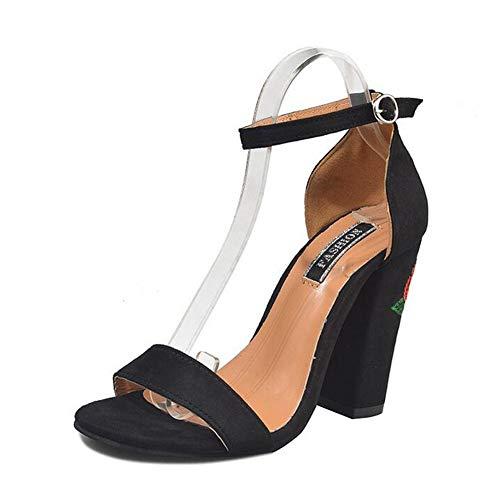 épais Chaussures Bout ZFAFA Talon Sandales Black Femme Boucle Femmes Dentelle Daim Haut Talon Ouvert ZnqaFfw
