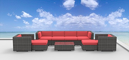 Urban Furnishing - FIJI 9pc Modern Outdoor Wicker Patio Furniture Modular Sofa Sectional Set, Fully Assembled - coral red