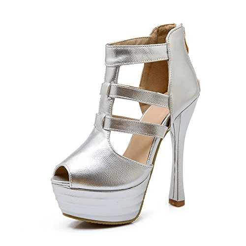 Adee Girls Solid Peep-Toe Polyurethane Sandals Silver tCLU86X7MD