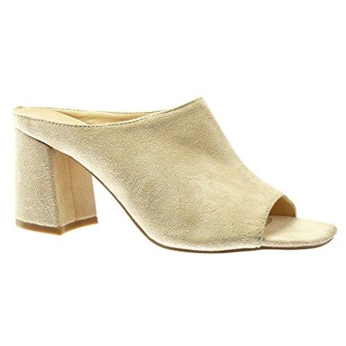Angkorly - Chaussure Mode Mule Sandale femme Talon haut bloc 8.5 CM - Beige