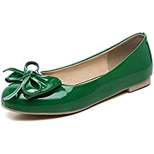 BalaMasa Womens Spun Gold Bowknot Low-Cut Uppers Round Toe Patent Leather Flats-Shoes