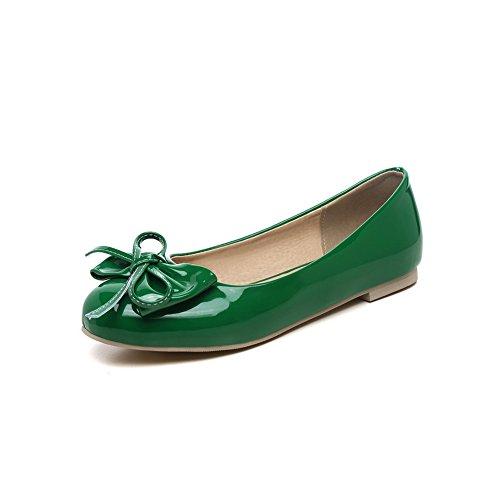 BalaMasa Womens Spun Gold Bowknot Low-Cut Uppers Round Toe Patent Leather Flats-Shoes Green XgA9ClZ