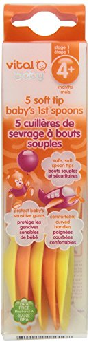 Vital Baby Soft Tip Babys 1st Spoons, Orange - 2 Packs of 5 count = 10 Count