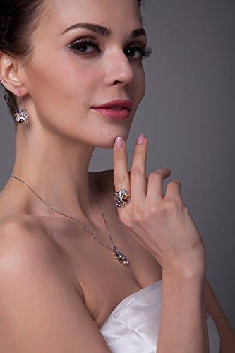 JewelryPalace 1.78ct Collier Pendentif Femme Fleur en Améthyste Citrine Grenat Péridot Topaze Bleu Ciel Naturelle avec une Chaîne en Argent Sterling 925