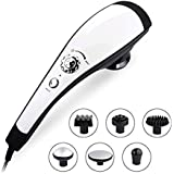 6 Interchangeable Nodes Massager, NURSAL Handheld Deep Percussion Massager with Heat, Variable Speed Adjustment and Anti Slip Design