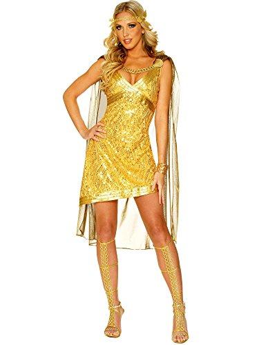 [Golden Goddess Adult Costume - Large] (Golden Goddess Costume)