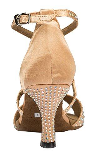CFP YYC-L056 Womens Latin Tango Ballroom Custom Heel Satin Dance Shoes Pink ZhfXcNA