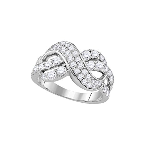 Pave Diamond Crossover (14kt White Gold Womens Round Pave-set Diamond Infinity Crossover Band 1-1/2 Cttw (I1-I2 clarity; H-I color))