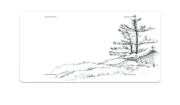 Amazon Com Lunarable Sketchy License Plate Young Thin Pine Trees