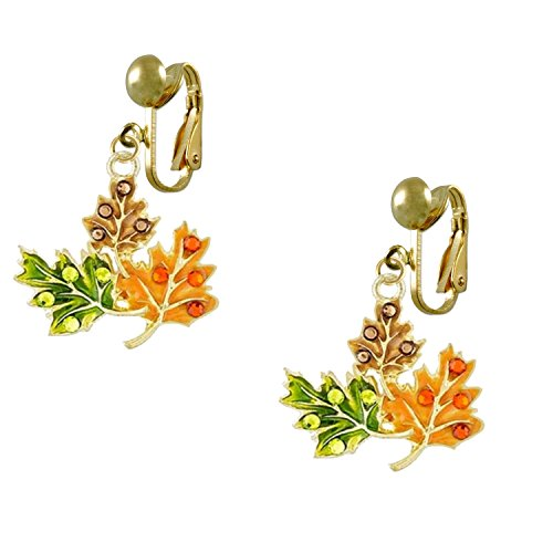 Gold Tone Leaf Clip - Fall Leaves Gold Tone Earrings CLIP