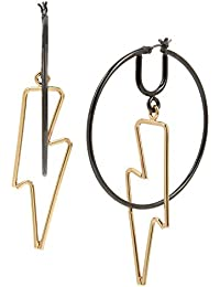 BCBG Generation Women's Two-Tone Lightning Bolt Orbital Hoop Earrings, Two-Tone, One Size