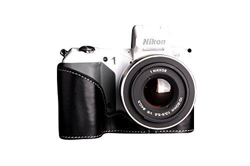ニコン Nikon 1 V2用本革カメラケース ブラック B07SZL1VBM カメラケース&ストラップTP1881&バッテリーケース FreeSize