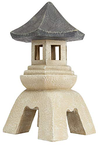 Asian Decor Pagoda Lantern Outdoor Statue, Medium 10 Inch, Poly Resin, Two Tone Faux Stone